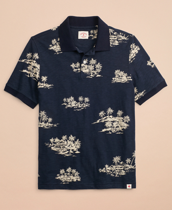 Tropical Print Slub Cotton Jersey Polo Shirt