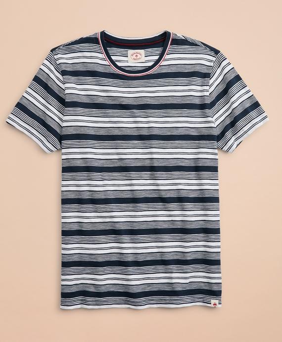 Multi-Stripe Slub Cotton Jersey T-Shirt Navy