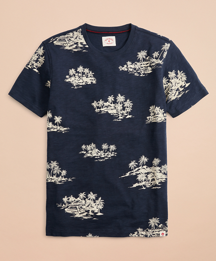 Tropical Print Slub Cotton Jersey T-Shirt