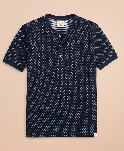 Dotted Double-Knit Jacquard Short-Sleeve Henley