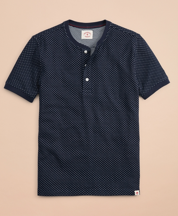 Dotted Double-Knit Jacquard Short-Sleeve Henley Navy