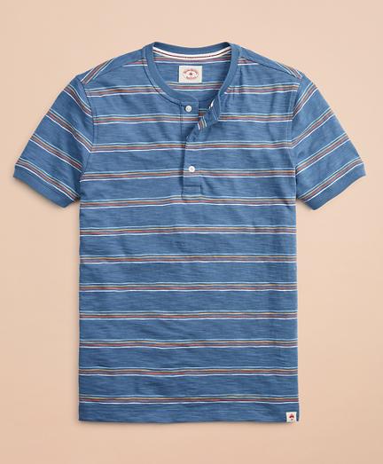 Multi-Color Stripe Slub Jersey Short-Sleeve Henley