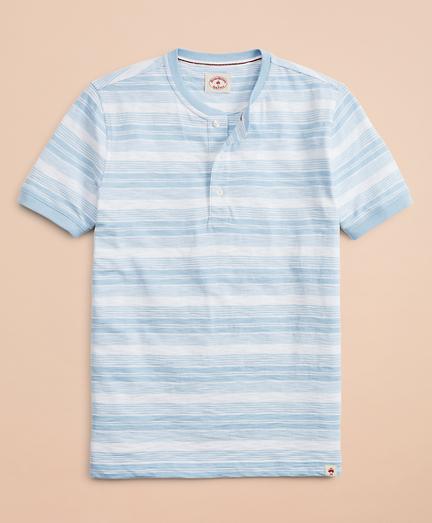 Multi-Stripe Slub Jersey Short-Sleeve Henley