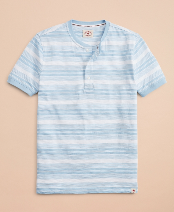Multi-Stripe Slub Jersey Short-Sleeve Henley Chambray