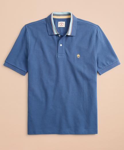 Novelty-Stripe-Collar Pique Polo Shirt