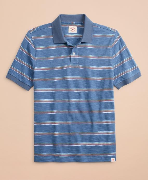 Multi-Color Stripe Slub Jersey Polo Shirt Blue