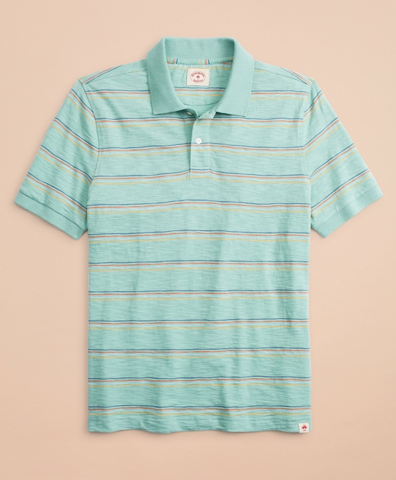 Multi-Color Stripe Slub Jersey Polo Shirt Green
