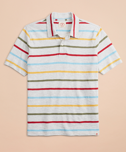 Striped Slub Jersey Polo Shirt