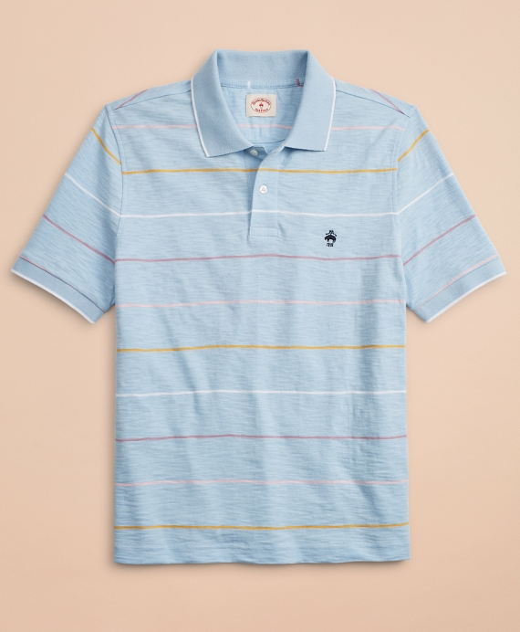 Striped Slub Cotton Jersey Polo Shirt Light Blue