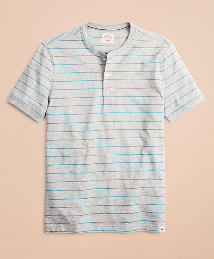 Striped Cotton Jersey Short-Sleeve Henley