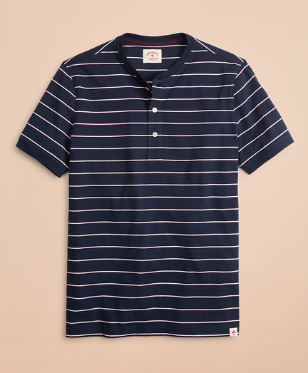 Striped Cotton Jersey Short-Sleeve Henley