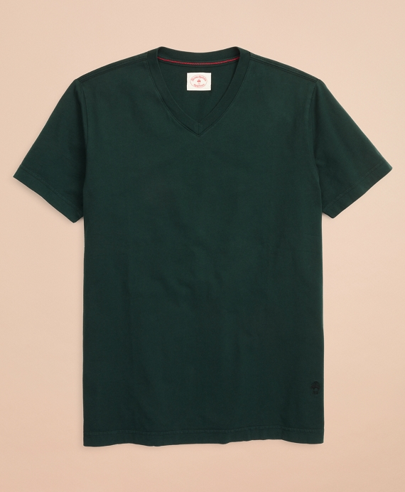 Garment-Dyed V-Neck T-Shirt Dark Green