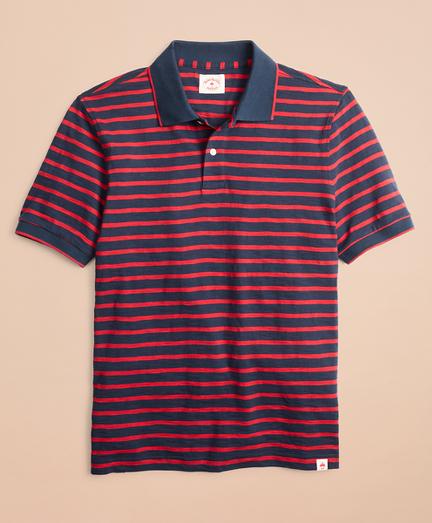 Striped Cotton Slub Jersey Polo Shirt