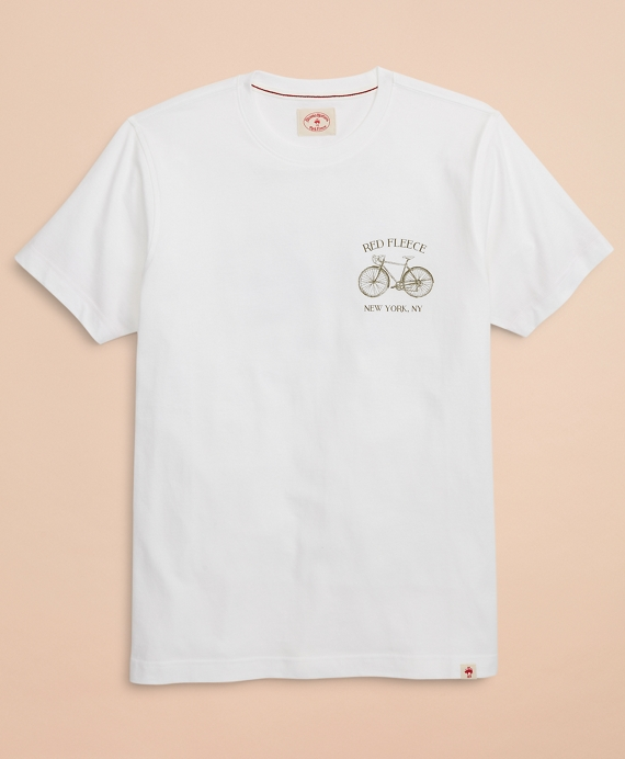 Red Fleece Bicycle Graphic T-Shirt White