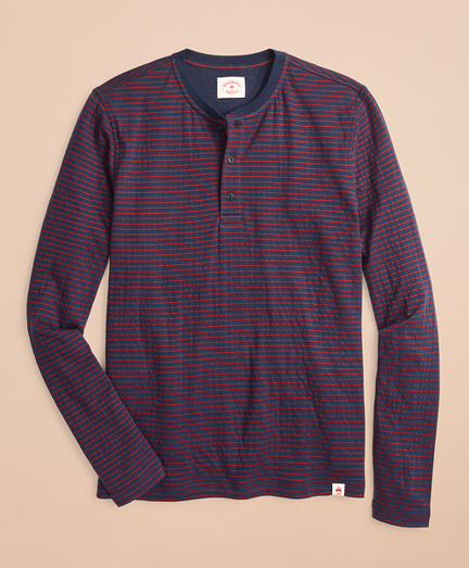 Striped Double-Knit Long-Sleeve Henley