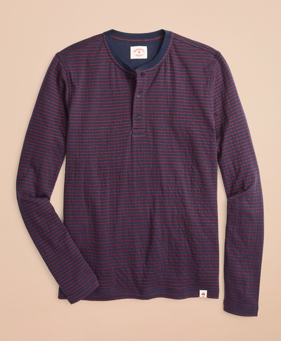 Striped Double-Knit Long-Sleeve Henley Navy