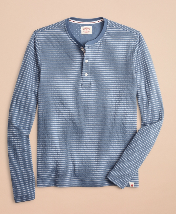 Striped Double-Knit Long-Sleeve Henley Teal