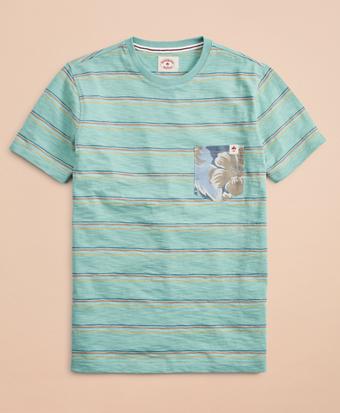 Multi-Color Stripe Slub Floral Pocket T-Shirt