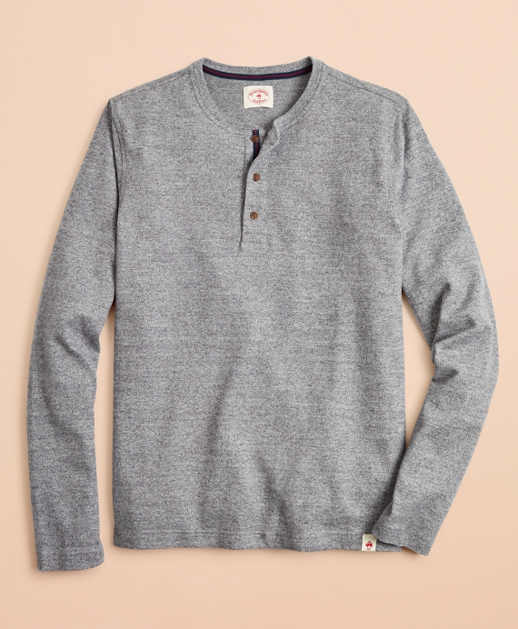Cotton Jersey Long-Sleeve Henley Grey