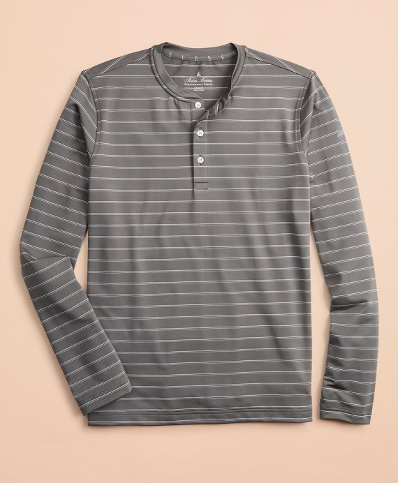 Performance Series Striped Long-Sleeve Henley Grey