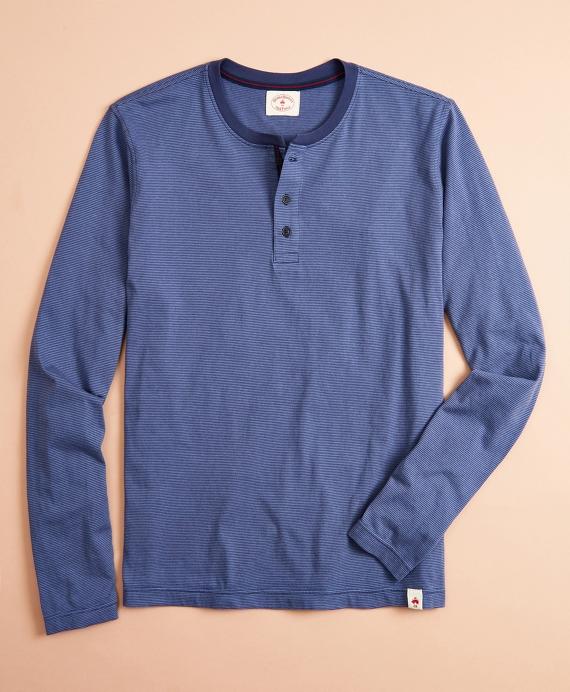 Striped Jersey Long-Sleeve Henley Blue