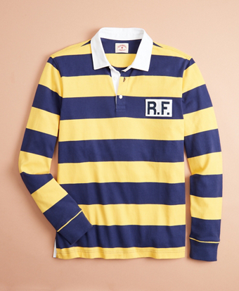 Cotton Jersey Striped Logo Rugby Shirt