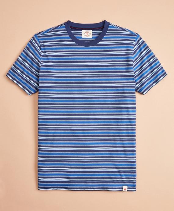 Multi-Stripe Cotton Jersey T-Shirt Blue