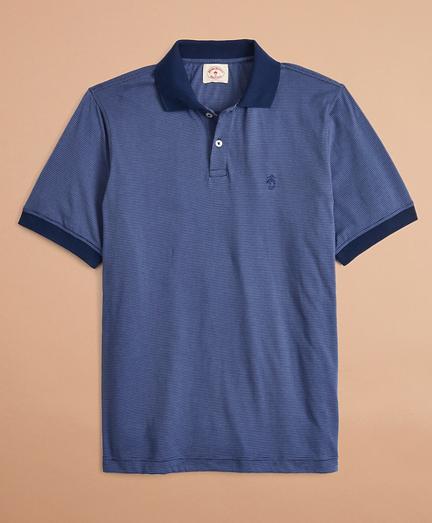 Cotton Jersey Mini-Stripe Polo Shirt