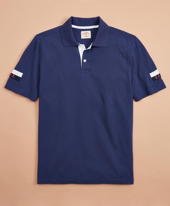 Pique Initial Polo Shirt Navy