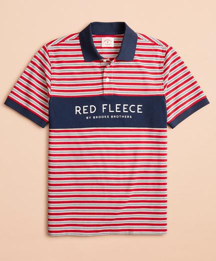 Multi-Stripe Red Fleece Pique Polo Shirt