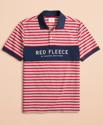 Multi-Stripe Red Fleece Pique Polo Shirt
