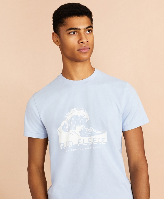 Wave Graphic T-Shirt Light Blue