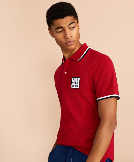 Cotton Pique Patch Polo Shirt