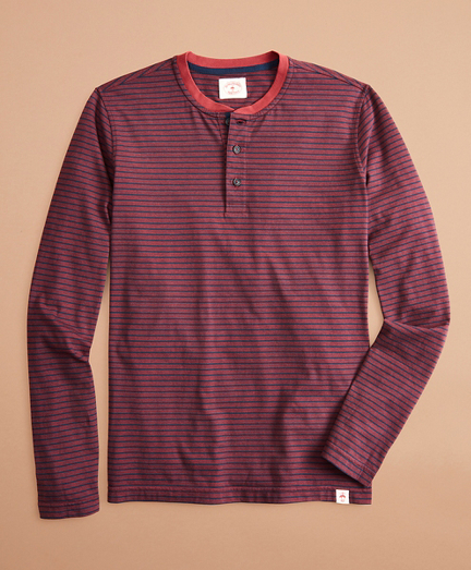 Striped Cotton Long-Sleeve Henley