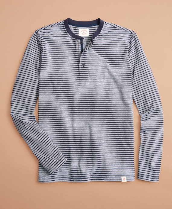 Striped Cotton Long-Sleeve Henley Navy