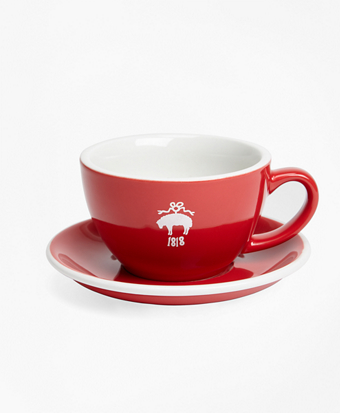 Red Fleece Cafe Cup and Saucer Set