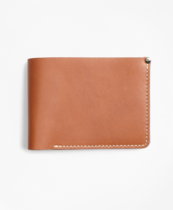 Cognac Leather Wallet by Brooks Brothers