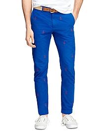 Seersucker Anchor Embroidered Pants