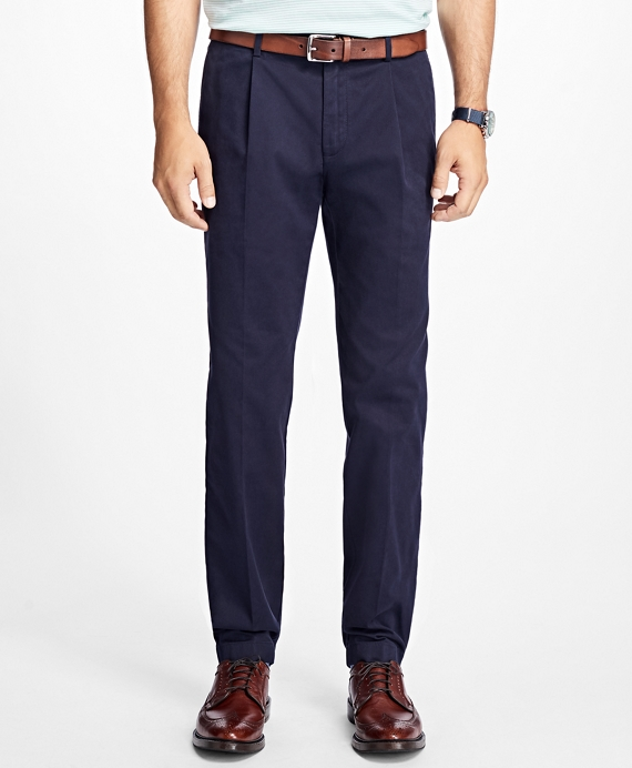 Slim-Fit Pleat-Front Garment-Dyed Stretch Chinos Navy