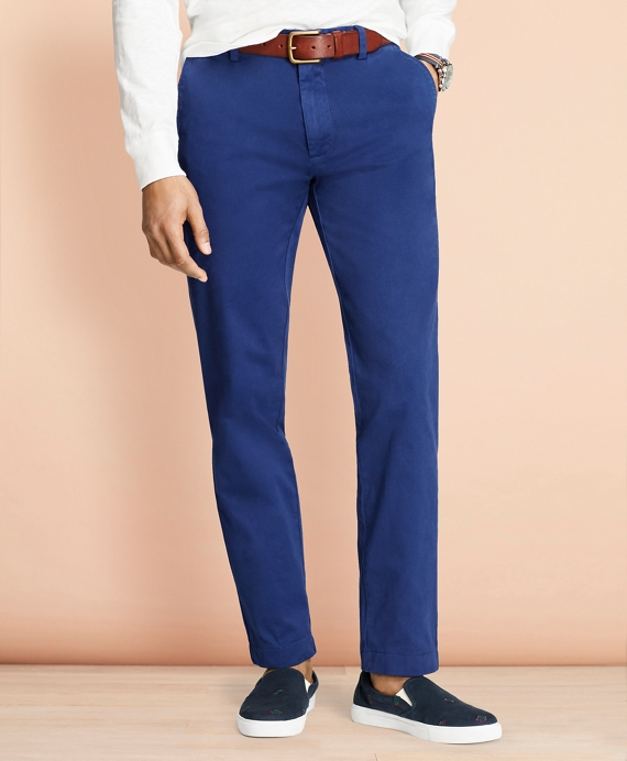 Garment-Dyed Stretch Chinos Blue