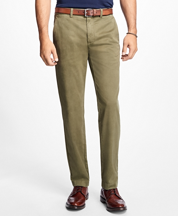 Garment-Dyed Stretch Chinos Ivy Green
