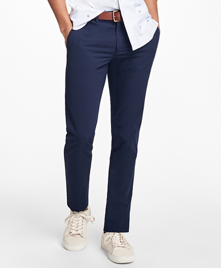 Slim-Fit Seersucker Chinos
