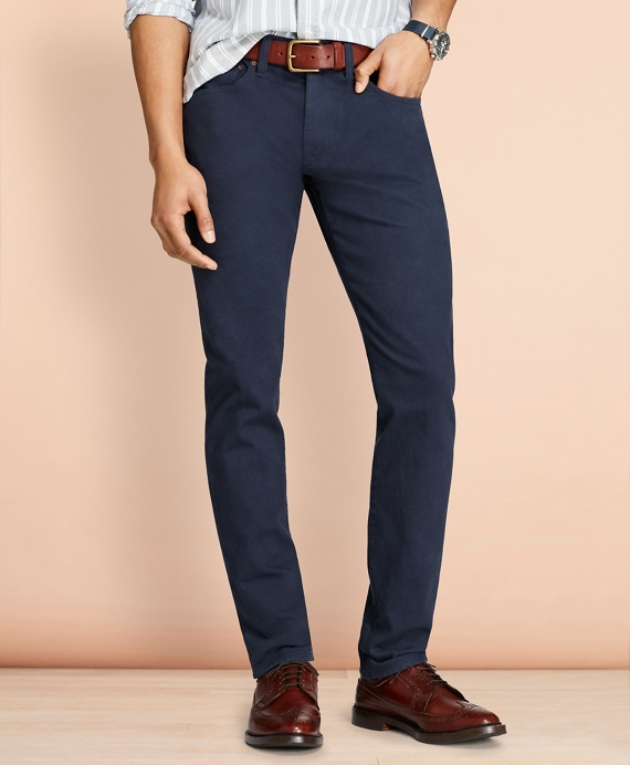 Slim-Fit Garment-Dyed Jeans Navy