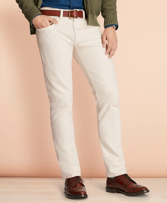 Slim-Fit Garment-Dyed Jeans Oatmeal