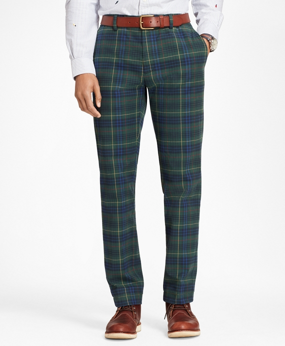 Stewart Hunting Tartan Brushed Cotton Twill Chinos Navy-Green