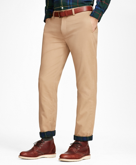 Flannel-Lined Chinos Tan
