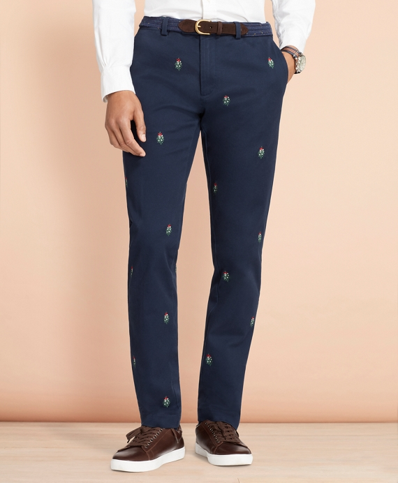 Slim-Fit Mistletoe-Embroidered Cotton Twill Chinos Navy