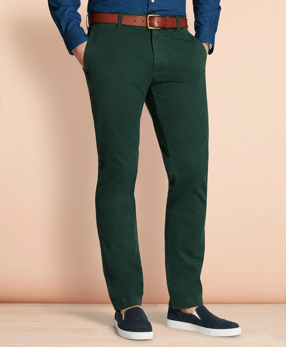 Garment-Dyed Stretch Chinos Pine Green