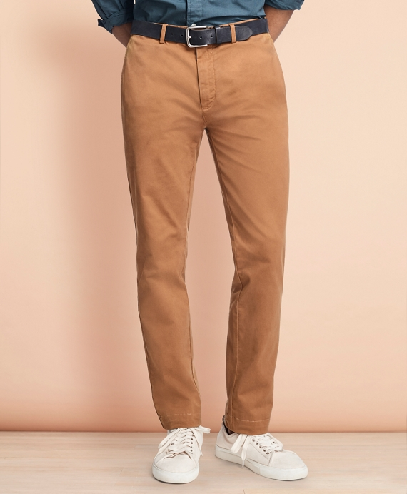 Slim-Fit Garment-Dyed Stretch Chinos Dark Camel