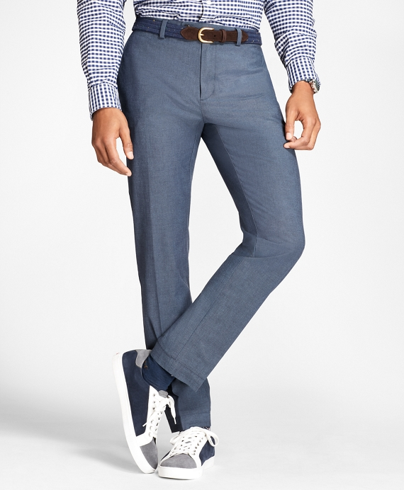 Slim-Fit Stretch-Cotton End-On-End Pants Navy